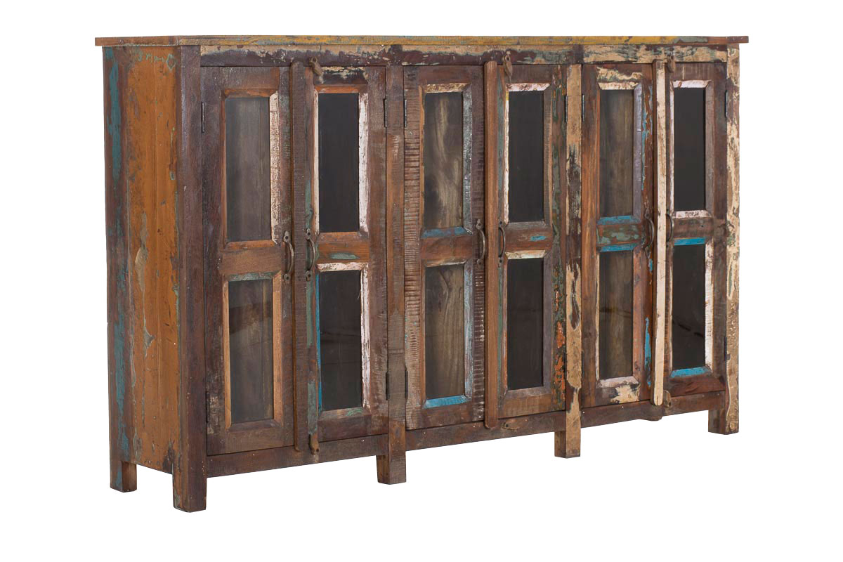teakholz sideboard senjur bunt vitrine anrichte kommode. Black Bedroom Furniture Sets. Home Design Ideas
