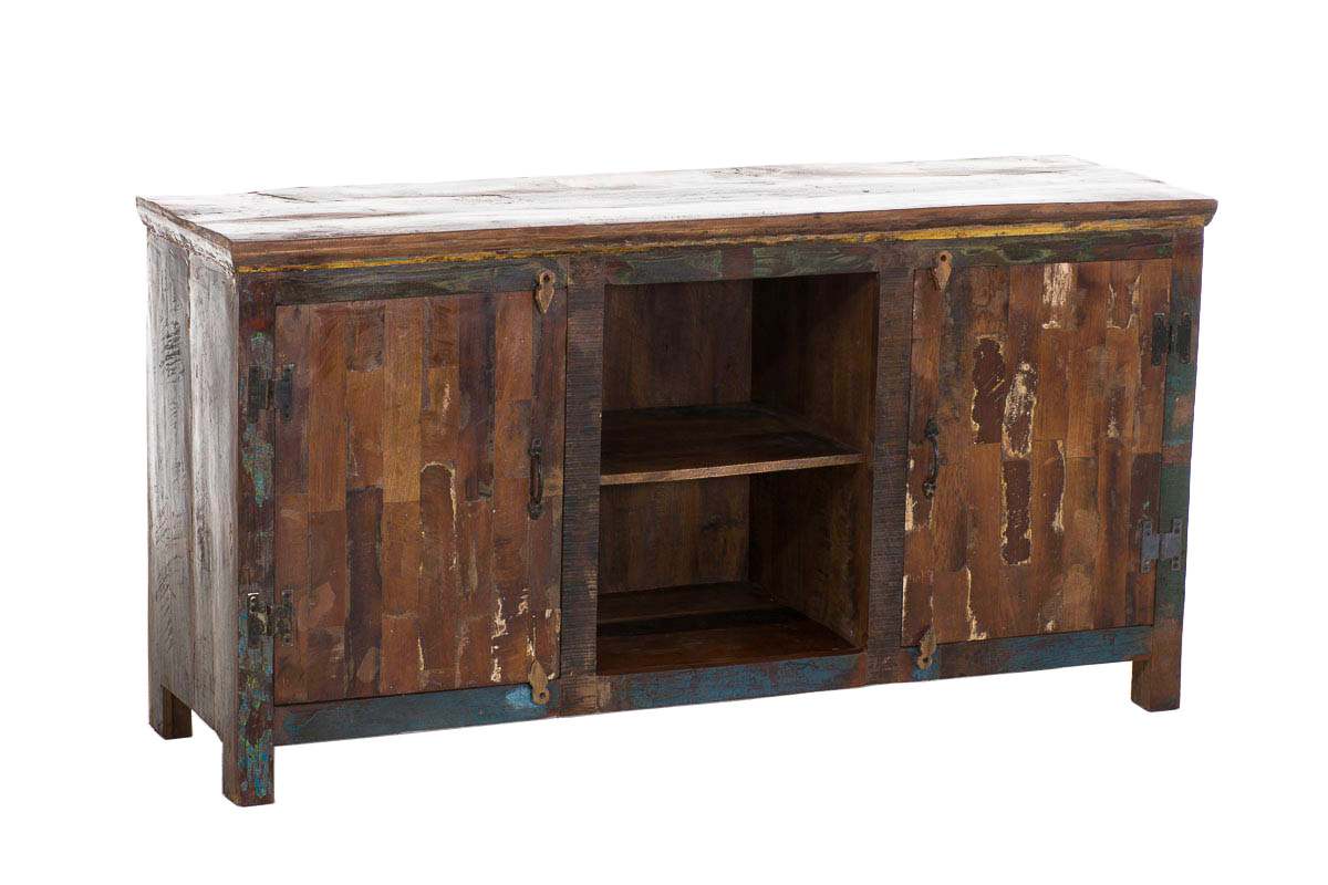 teak holz sideboard mandira bunt schrank 6 f cher kommode. Black Bedroom Furniture Sets. Home Design Ideas