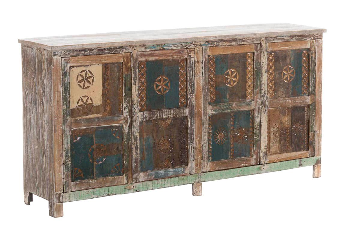 teakholz sideboard sadhana bunt retro anrichte highboard. Black Bedroom Furniture Sets. Home Design Ideas