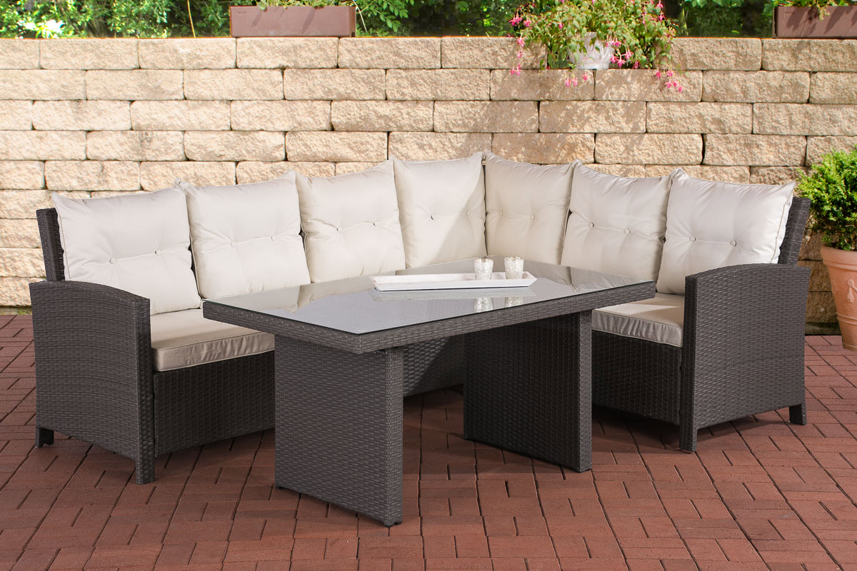 polyrattan sitzgruppe miranda essgruppe gartenm bel terassenm bel set 6 personen ebay. Black Bedroom Furniture Sets. Home Design Ideas