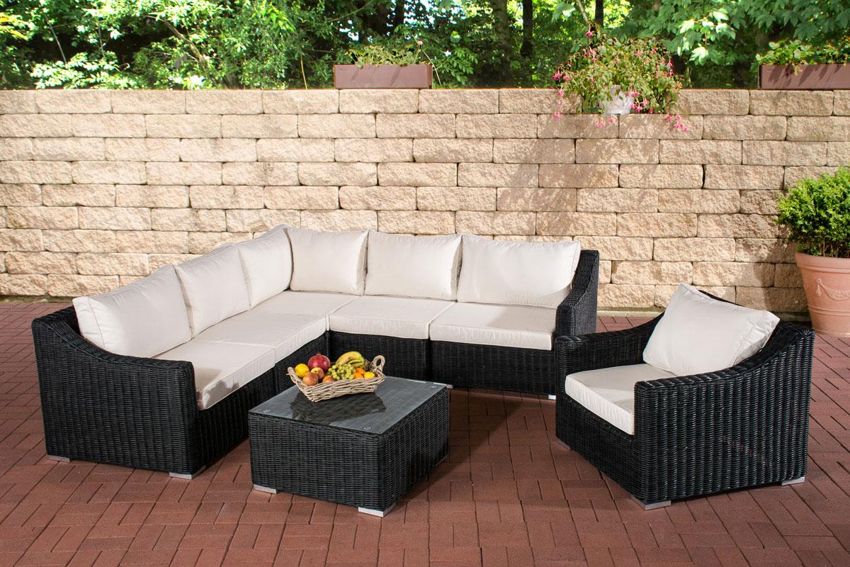 Polyrattan Gartenmöbel Lounge Set DEL MAR schwarz Tisch Sofa Sessel ...