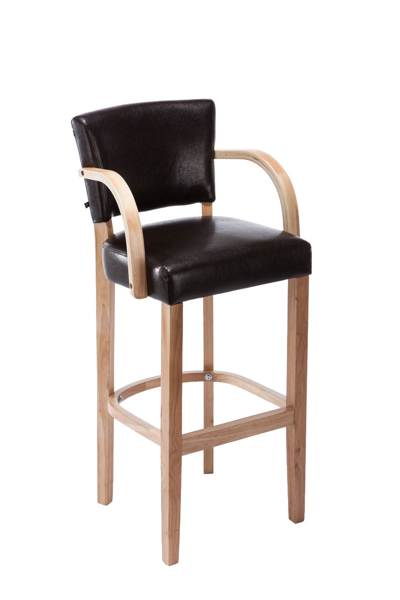 Bar Stool Lionel With Armrests Rubber Wood Modern Barstool