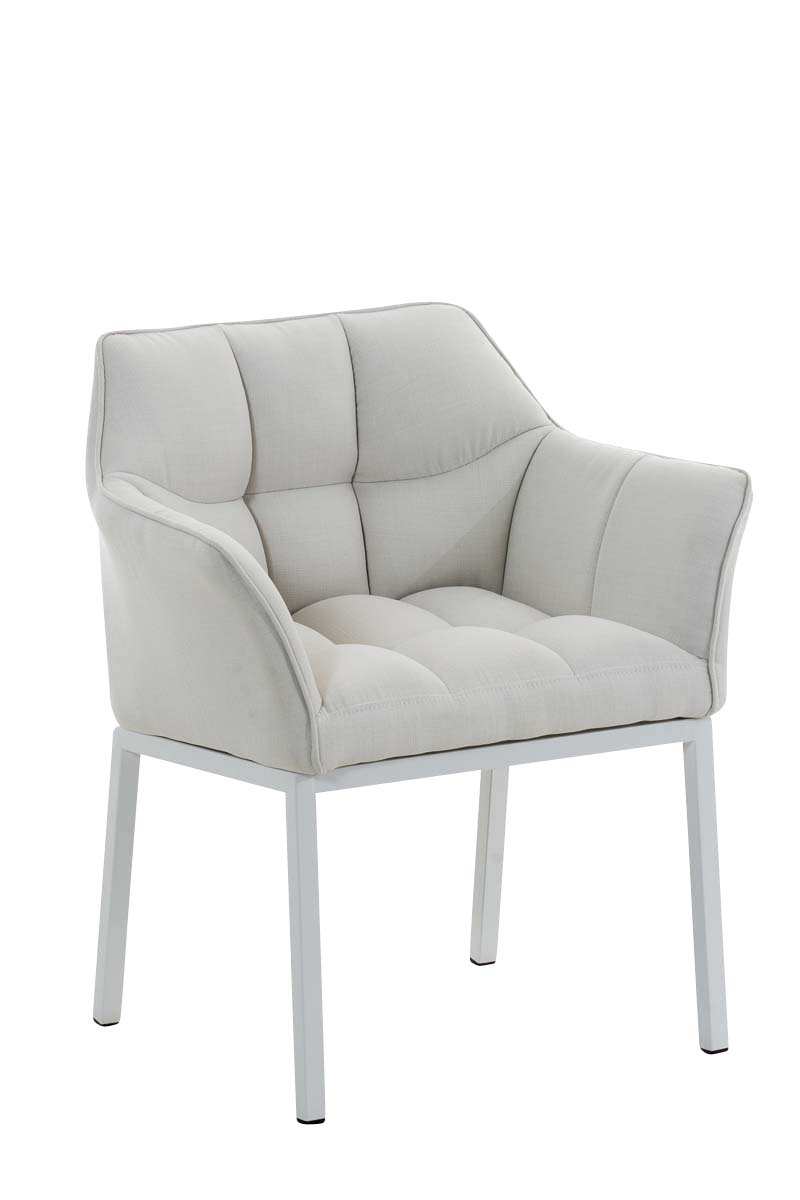 fauteuil de salle manger octavia chaise tissu m tal blanc mat accoudoirs salon ebay. Black Bedroom Furniture Sets. Home Design Ideas