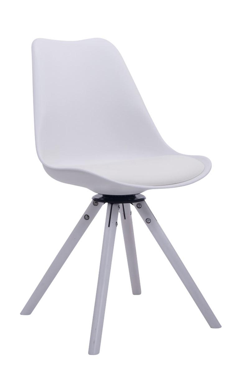 besucherstuhl troyes drehbar wei rund lehnstuhl esszimmerstuhl retro holz ebay. Black Bedroom Furniture Sets. Home Design Ideas
