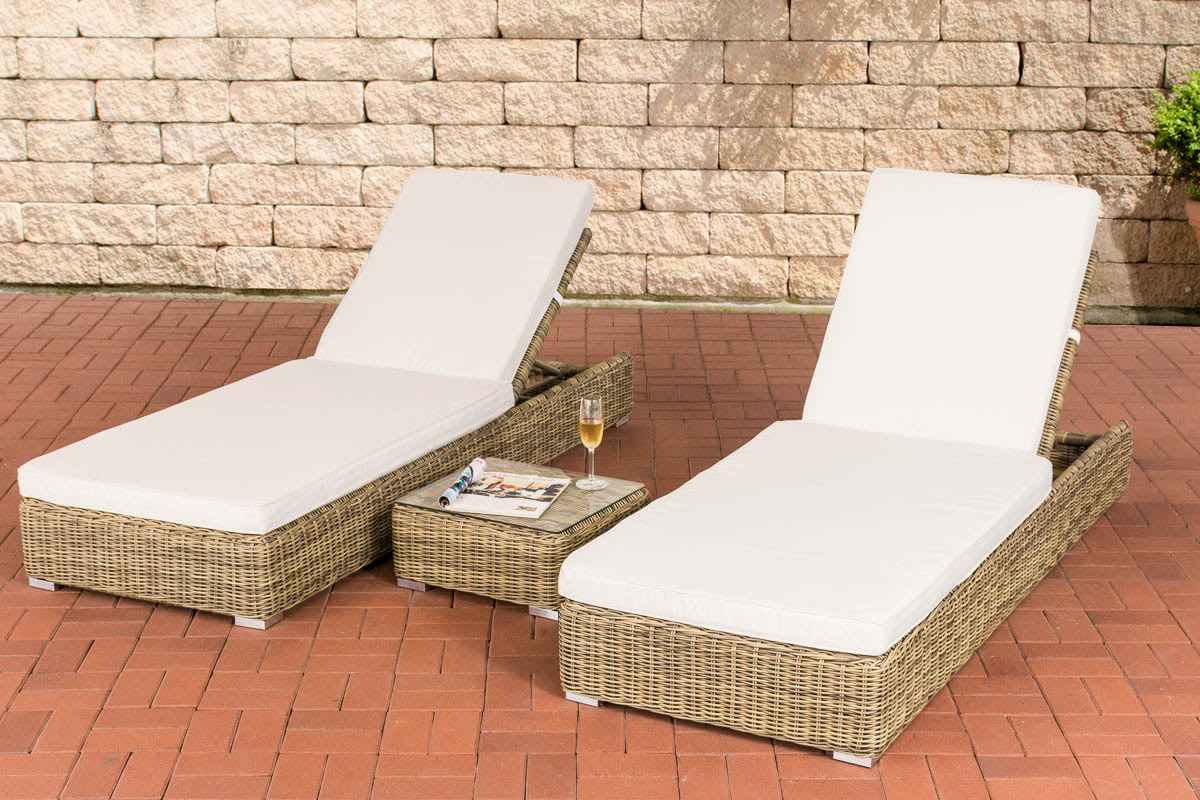 polyrattan set sonnenliegen atessa beistelltisch relax gartenliege liegestuhl ebay. Black Bedroom Furniture Sets. Home Design Ideas