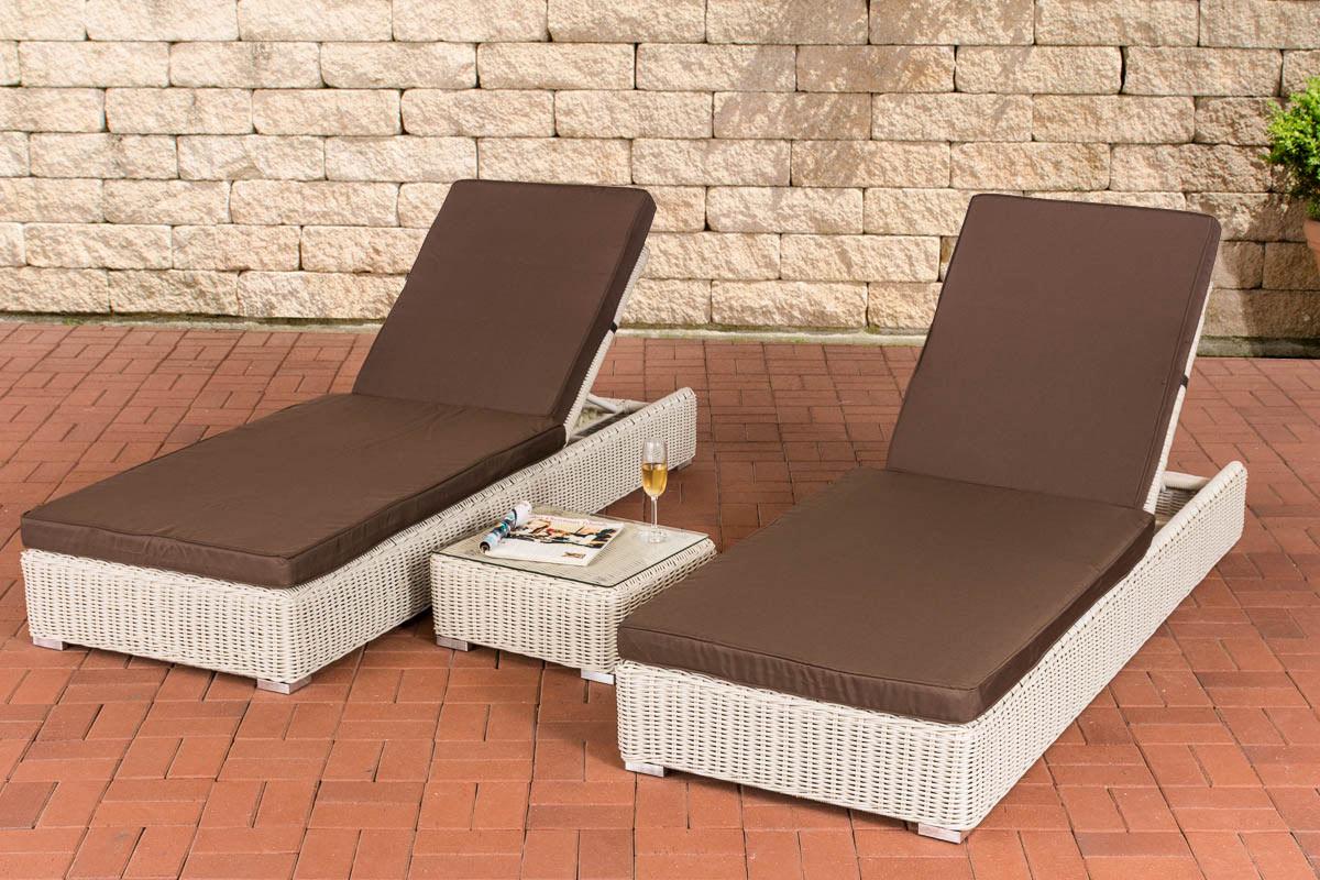 polyrattan set sonnenliegen atessa beistelltisch relax gartenliege liegestuhl ebay. Black Bedroom Furniture Sets. Home Design Ideas
