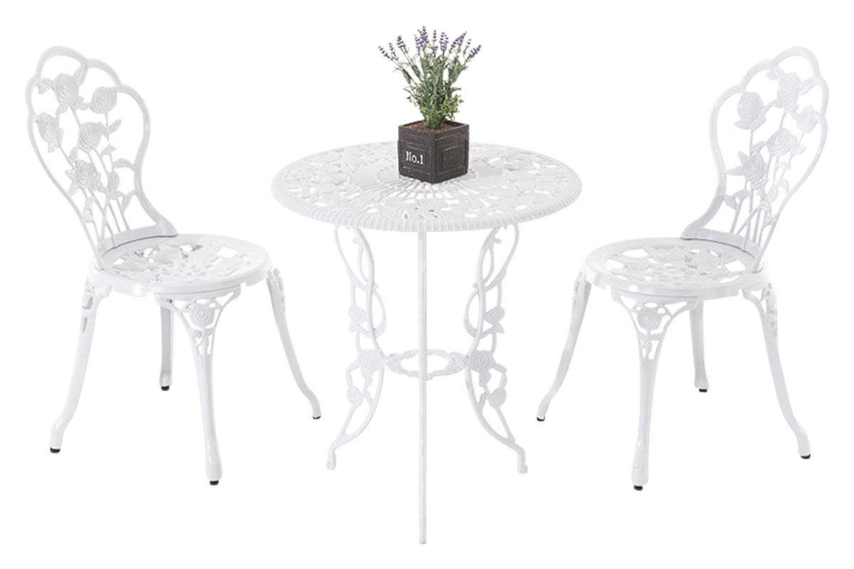 Salon de jardin GANESHA table ronde chaise romantique métal vieilli ...