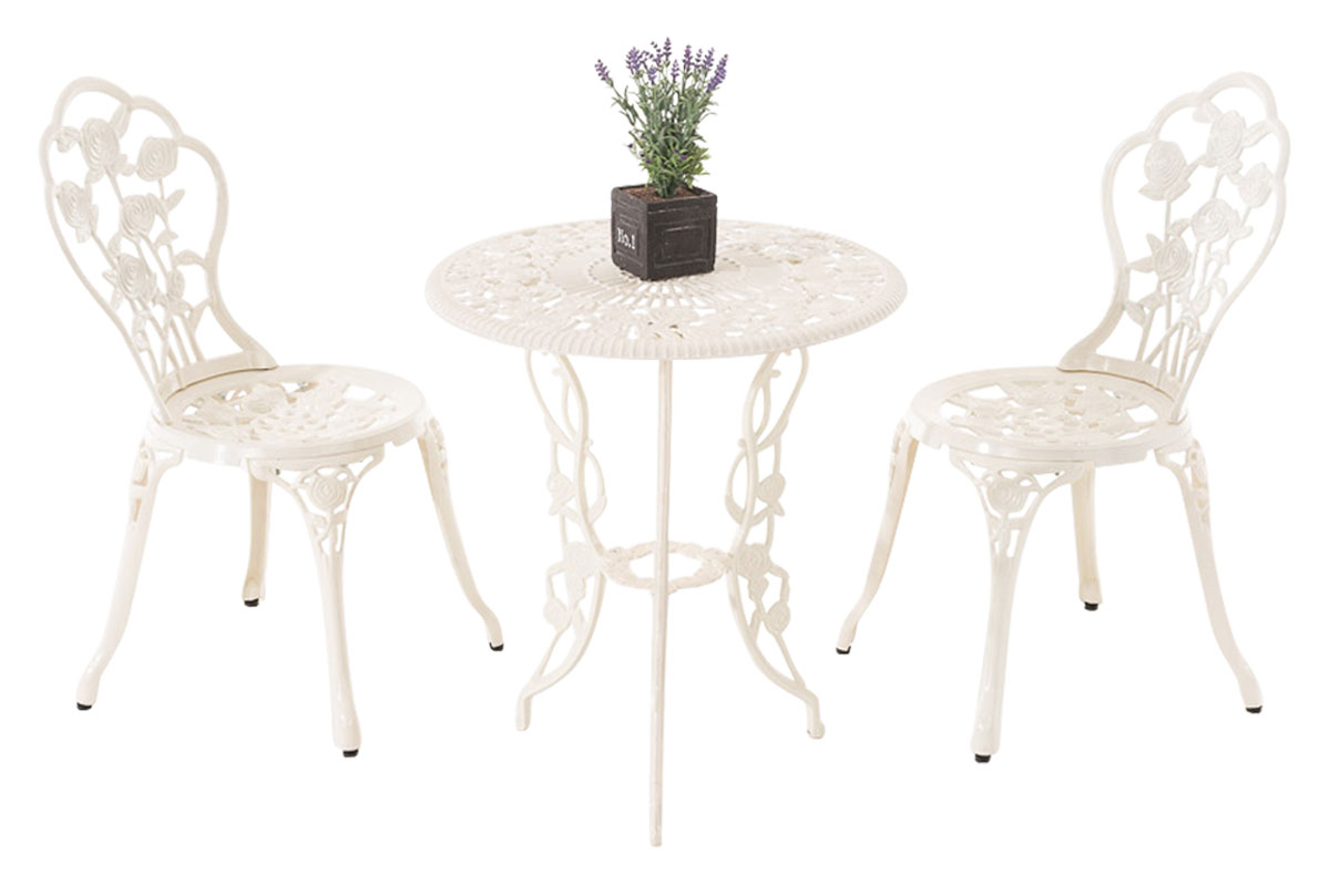 salon de jardin ganesha table ronde chaise romantique m tal vieilli terrasse ebay. Black Bedroom Furniture Sets. Home Design Ideas